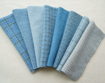 Light Blue Hand Dyed and Felted Wool in a Beautiful Collection of Colors a Perfect Rug Hooking Wool 5207C