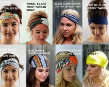 Wide Headband Head Wrap Yoga Headband CHOOSE Any TWO Coachella Turban Headband Set Jersey Cotton Headband Chiffon - 40 Color Options
