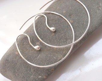 Silver Reverse Hoop Earrings Tarnish Resistant Sterling Silver, Lightweight