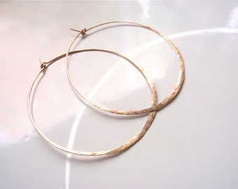 Gold Large Hoop Earrings, Hammered, Textured,  Almost 2 inches