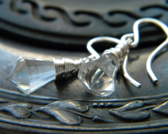 Pendulum- Clear natural quartz crystal chandelier briolette bright sterling silver earrings - handmade wire wrapped jewelry