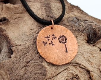 Rustic textured copper metal disc pendant with stamped dandelion design- hand stamped copper necklace- available to personalize