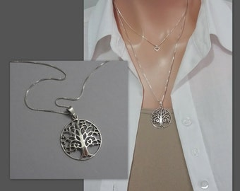 Sterling Silver Tree of Life Necklace, Tree of Life Pendant on Rhodium Plated Sterling Silver Necklace Chain, Gift for Grandmother