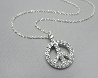 Peace Sign  Sterling Silver and CZ Pendant on Sterling Silver Necklace Chain, Personalized Necklace Gift,  Peace Necklace, Gift for Her