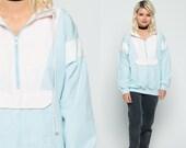 Pastel Windbreaker Jacket 80s Pullover Half Zip Coat Hipster Baby Blue Pink Cotton Vintage 90s Stripe New Wave Color Block Medium