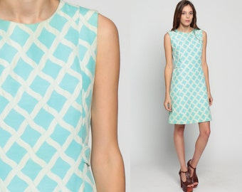 60s Shift Dress 60s Mod Mini Shift Pastel Blue 1960s Gogo Checkered Vintage Sixties Twiggy Go go Sleeveless MiniDress Retro White Medium