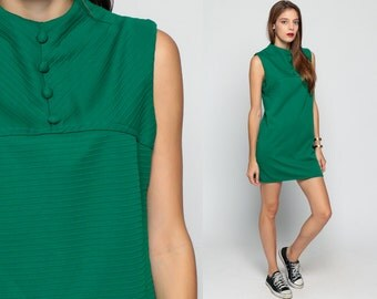 Mod Mini Dress 60s Shift STEWARDESS Button Up Gogo Sleeveless Emerald Green Striped Vintage Sixties Twiggy Medium