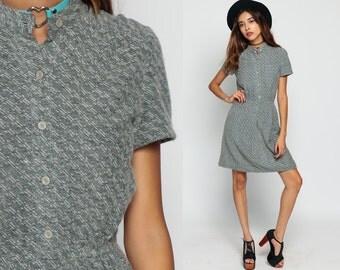 Mod Mini Dress 70s Grey Knit High Collar Short Sleeve Plain Button Up High Waisted Preppy 1970s Boho Vintage Minidress neck Small Medium