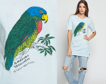Tropical Shirt PARROT Bird Tee 80s St Lucia WEST INDIES Burnout Tshirt Paper Thin Vintage Retro T Shirt Tee 1980s Graphic V Neck Large