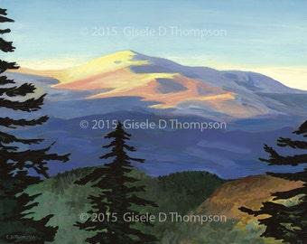 Sunrise on Mount Washington, NH, New 2016, Matted 12x16 print, fits 16x20 frame