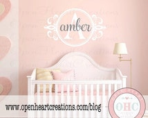 ON SALE Initial and Name Shabby Chic Wall Decal - Baby Nursery Monogram Vinyl Lettering Decal Sticker 22H x 36W Fn0280