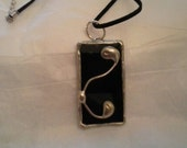 Stained Glass Black Rectangle Pendant