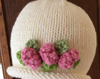So So Sweet Hand Knit Baby Girl Hat Creamy White With Pink Rose Buds - New Baby Girl Gift - Infant Gift - Photo Op - Shower Gift - Present