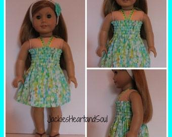 Halter Sundress Rainforest Raindrops Fits 18 inch dolls