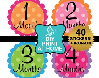 DIY 40 printable baby girl month milestone stickers download monthly age stickers Iron on Digital File (No.93)