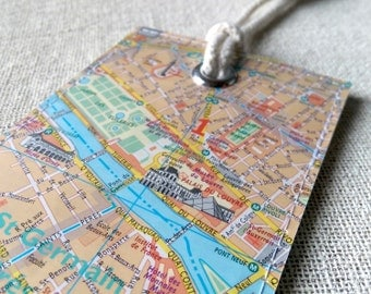 Paris Louvre luggage tag made with original map