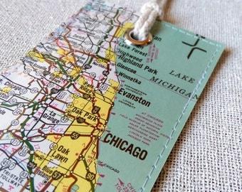 Chicago Illinois original vintage map luggage tag