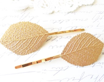 Golden Leaf Bobby Pin Set - Aspen Leaf Hair Pins - Birch Leaf Bobby Pin - Woodland Leaf Hair Pins - Wedding Hair Accessory - Bridal Hair