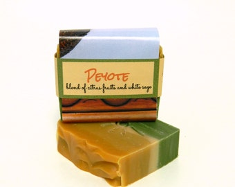 PEYOTE:  Citrus Sage Artisan Soap / Cold Process Soap, Handmade Soap, Vegan Soap / Colorful Summer