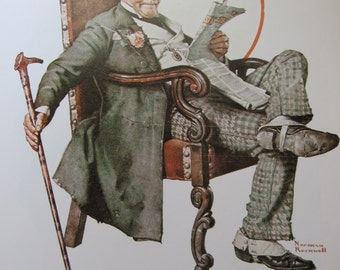 Cigar Butt/Asleep On The Job, Norman Rockwell Magazine Cover Prints, 2-Sided Vintage Book Page, Unframed Color Plate, 1979