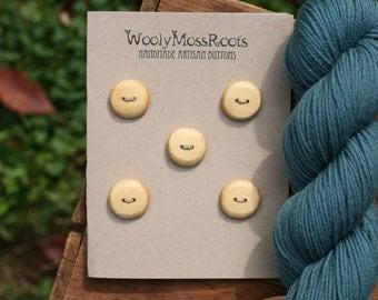 5 Cedar Wood Buttons- Yellow Cedar Wood- Wooden Buttons- Eco Craft Supplies, Eco Knitting Supplies, Eco Sewing Supplies