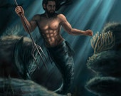 Guardian of the Arabian Sea, merman, reef, art print