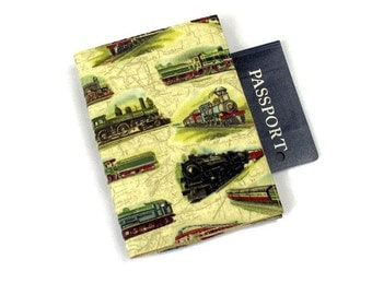 Railroad Trains Fabric Passport Cover with Velcro Closure, Gift for Guy, Masculine
