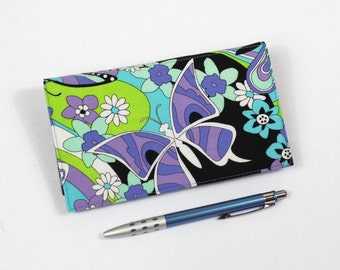Butterflies Checkbook Cover for Duplicate Checks with Pen Holder, Butterfly Check Book Cover, Purple Green Cheque Book
