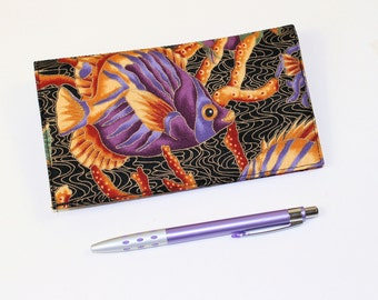 READY TO SHIP - Fish Fabric Checkbook Cover for Duplicate Checks with Pen Holder in Black, Gold, Purple Cheque Book Cover