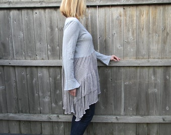 Upcycled Women Long Sleeve Top Dress  Loose Women Top Wearable Art Bohemian Clothing Women Tunic Medium/Large Dress Gray Martinisq