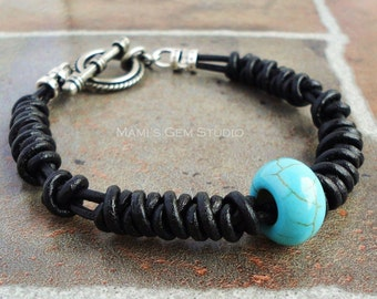 Handmade Leather Bracelet for Men | Blue Magnesite Stone with Braided Black Leather Mens Bracelet | Jewelry for Him