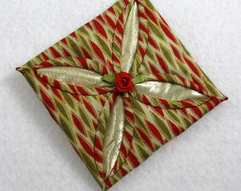 Red, Green and Gold Cathedral Window Quilted Christmas Ornament 150