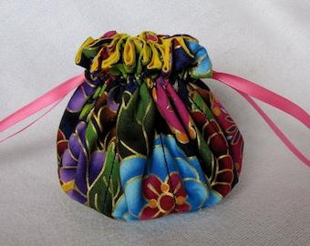 Drawstring Jewelry Pouch - Medium Size - Jewelry Travel Bag - KALEIDOSCOPE WOW
