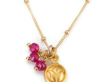 Lotus Ruby Gemstone Necklace - Compassion New Beginnings, Lotus Necklace, Lotus Charm, Yoga Jewelry, Lotus Flower Charm, Best Gifts, Ruby