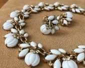 Shop Sale Vintage 1960s Jewelry Set / 60s Trifari Choker Necklace and Clip Earring Set / White Cabochon Rhinestone, Ladies Who Lunch