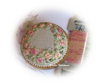 Silk Ribbon Embroidery - PP13 Peaches and Cream