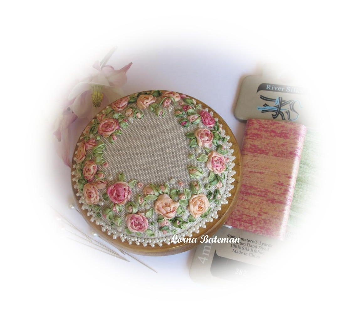 Silk ribbon embroidery pp peaches and cream