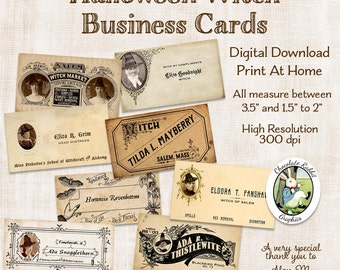Halloween Witch Business Cards Tags Digital Download Vintage Style Printable Calling Cards Clip Art Collage Image Scrapbook Graphics