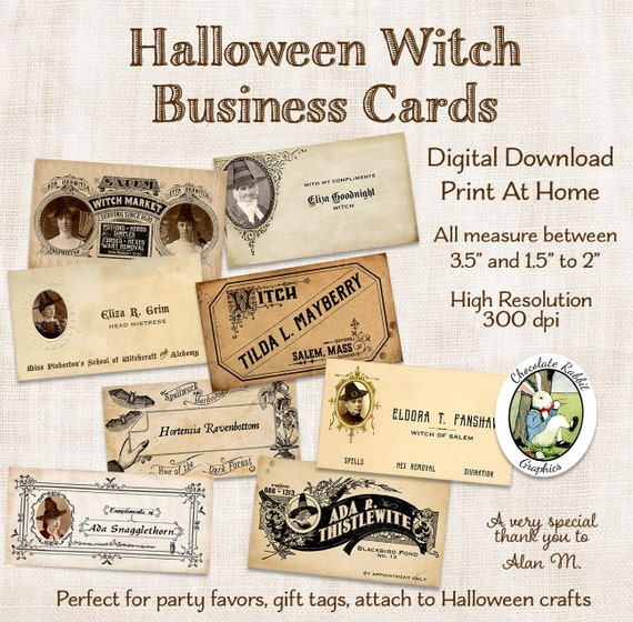 Halloween witch business cards tags digital download vintage style halloween witch business cards tags digital download vintage style printable calling cards clip art collage image scrapbook graphics from chocolaterabbit on reheart Images