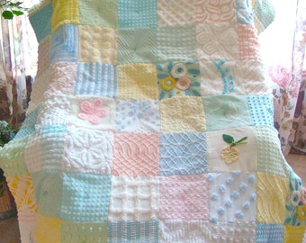 "CUSTOM QUILT Sample ~ ""Pastel Treasures"" Handmade Vintage Cotton Chenille Patchwork Quilt"