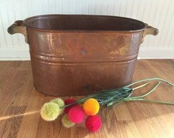 Vintage COPPER CANNING TUB, Cauldron, Copper Pot, Planter, Shop Display, Photos Prop,  Firewood Box, Rustic, Farmhouse at A Vintage Revolut