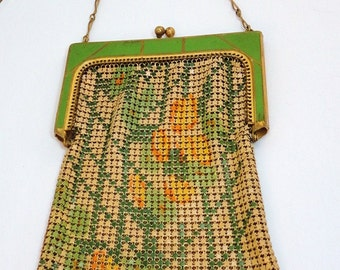 20s Whiting Davis Mesh Purse Flower Design  Antique