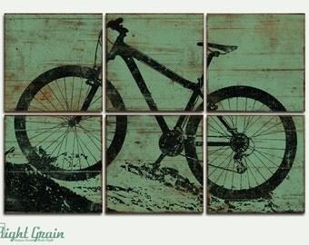 Boys Room Art Decor - Large Mountain Bike Print - Custom Made Bicycle Wall Art