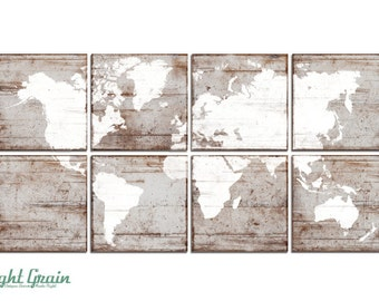 XL Vintage World Map Large Wall Art - Custom Made Map Print - Distressed Wall Map Decor 24x48
