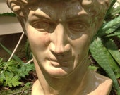Planter, house plant, head pot, head planter, Greek god, bust, beige, sand, garden decor, unique