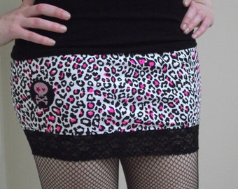 Pink Leopard Print Micro Mini Skirt // Size Small // Emo Punk Alternative Goth