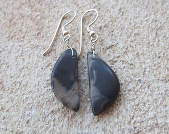 River stone Earrings - natural stone jewelry - beach pebble earrings - simple, elegant, unique eco jewellery