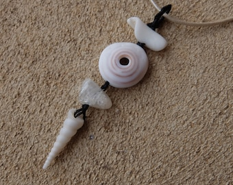 Puka shell, Quartz, shell pendant necklace - natural  white jewelry handmade in Australia from ethical sourced stone & shell - macrame