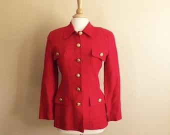 Vintage 90s RED BLAZER / Womens Medium Large