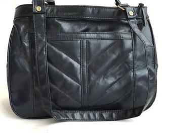 Vintage MIDNIGHT BLUE Handbag - 1980s Chevron Purse by Ambassador Design
